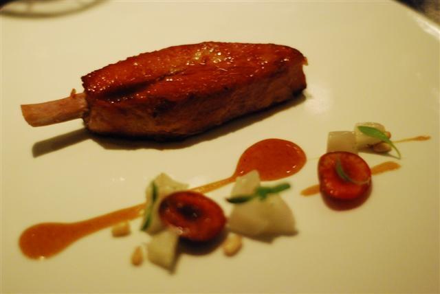 pork rib sunchoke pine nut cherry black bean