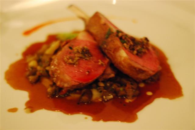Braised California lamb, eggplant caponata with lamb jus