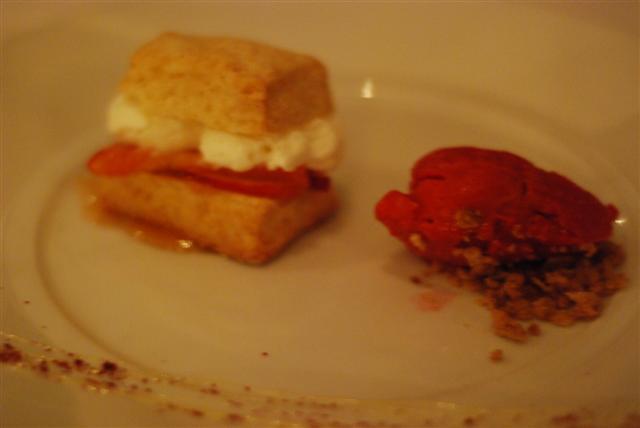 Peach shortcake, whipped yogurt and raspberry sorbet