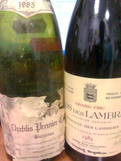 """'85 Jean-Marie Raveneau """"Butteaux"""" Chablis 1er Cru & '83 Domine des Lambrays Grand Cru"""