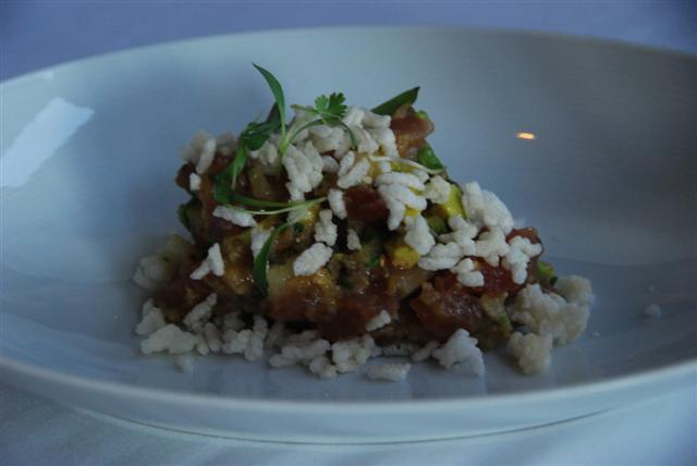 Yellowfin tuna tartare, asian pear, chili oil, fried rice and cilantro