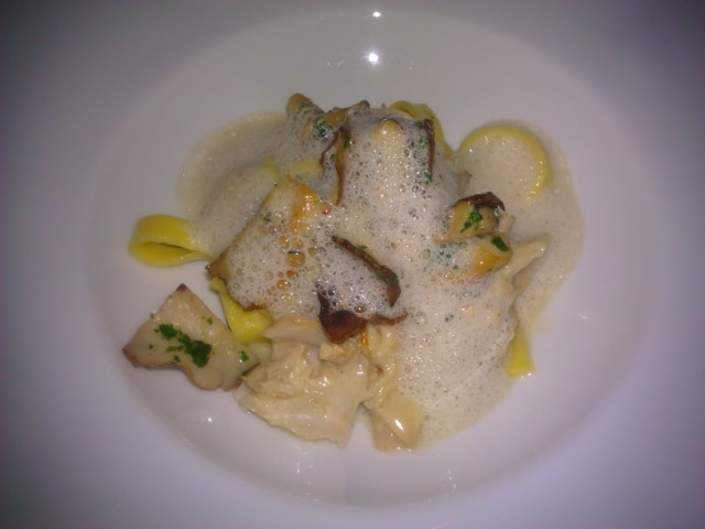 House-made Fettuccine with Braised Rabbit, Seasonal Mushrooms & Mushroom Emulsion