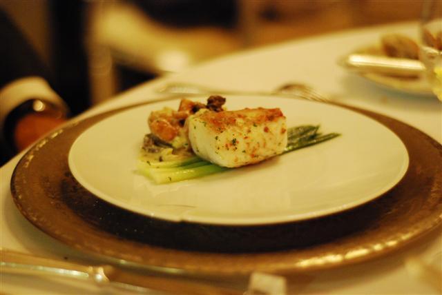 Steamed Cod with mild garlic and chorizo sausage