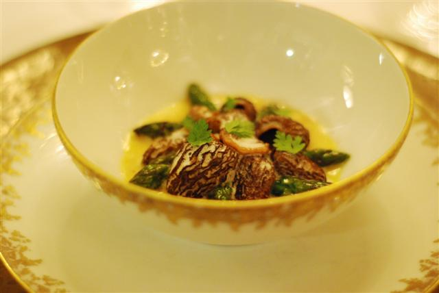 Steamed green asparagus and morel mushrooms