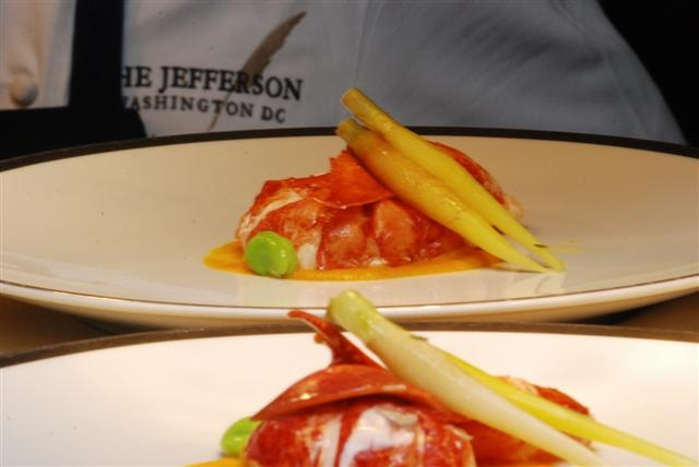Butter-poach Lobster with Carrot & Vanilla Puree, Ginger Cardamom Emulsion