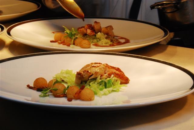 Roasted Guinea Hen with Savoy Cabbage, Bacon Lardons