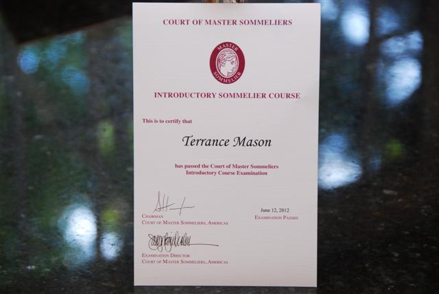 Level I Sommelier Certificate - Court of Master Sommeliers