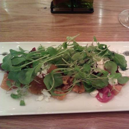 Beet Salad with Goat cheese, Walnuts, Pickled Onions, Basil, Red Wine Vinaigrette