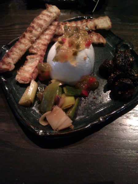 Mozzarella with Lavender spiced leeks & spicy figs