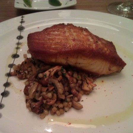 Pan Seared Maine Salmon with Fricassee of Wild Mushrooms, Frigola Sarda, Herb Oil