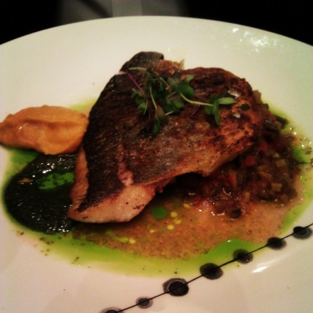 Pan Seared Sea Bream with Ratatouille, Basil Pesto