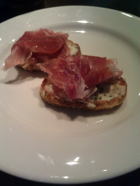 Parama ham with truffle oil, pears and goat cheese