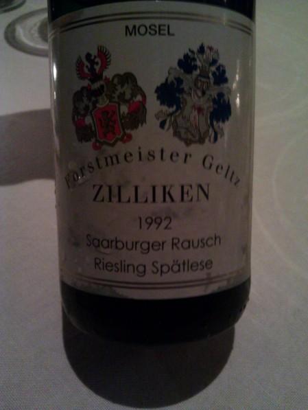 1992 Zilliken Saarburger Rausch Riesling Spatlese