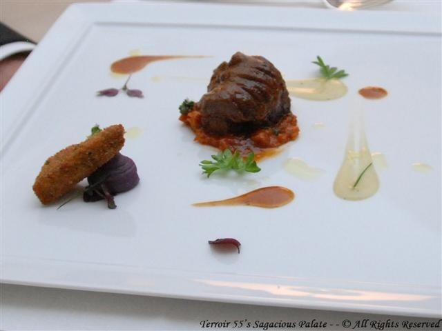 Braised veal cheek with tomato, ginger scented crunchy calf's head and potato cream sauce