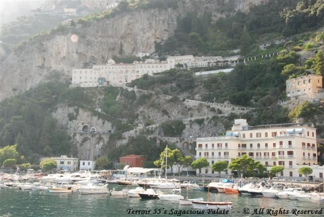 The viewing Hotel Cappuccini Convento from the Bay of Amalfi