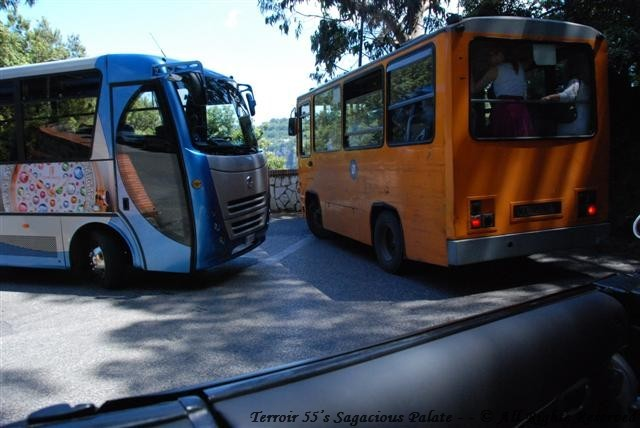 Two Buses and a Taxi meet