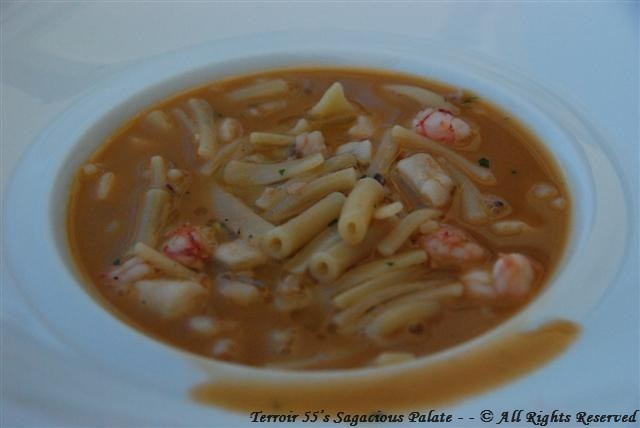 Pasta and seafood soup