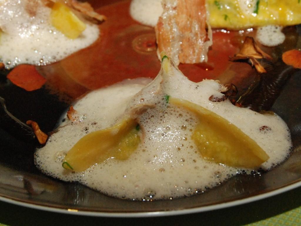 Escargot Ravioli - Bacon, ricotta, miso-tamarind emulsion