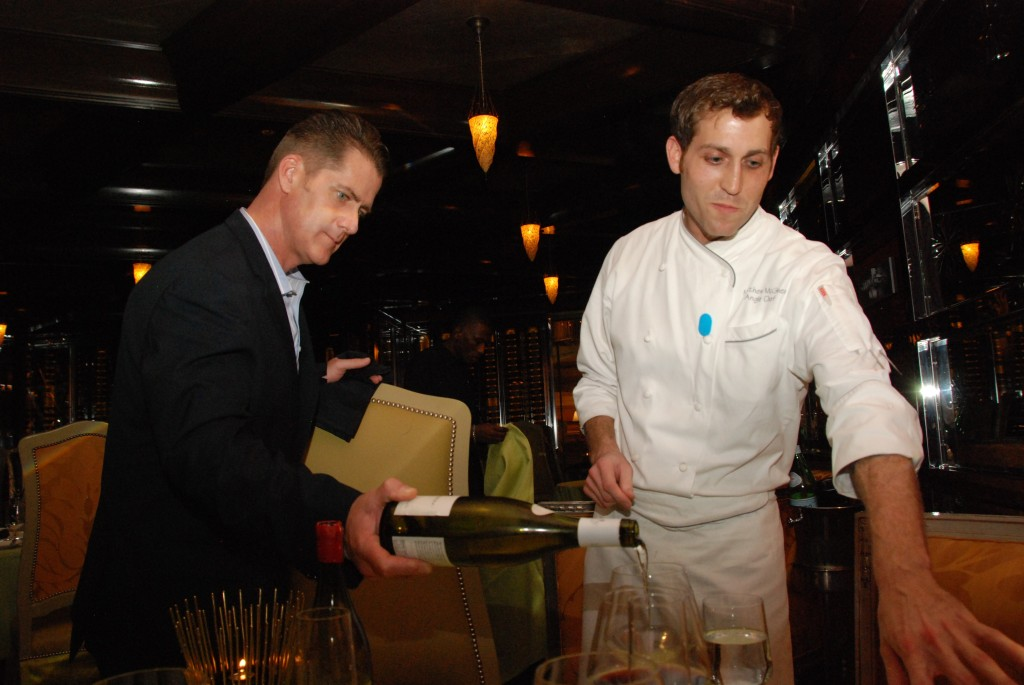 Don pouring 2012 Dom. Leroy Savigny-les-Beaune and Chef Mattie explaining the Dover Sole dish