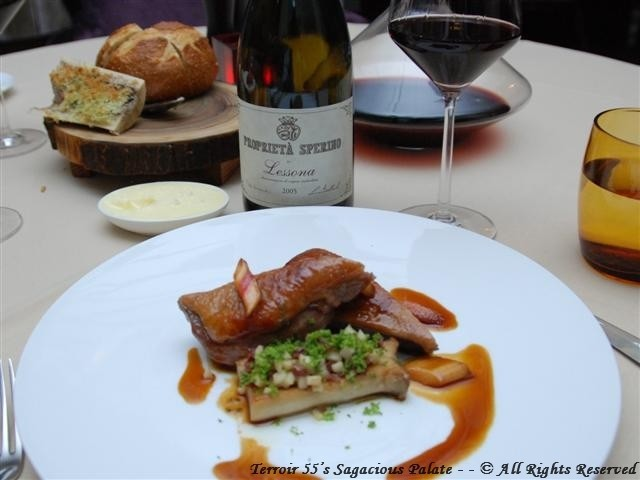 """Roasted Duck Breast with a rhubarb and star anise glaze served with grilled king oyster mushrooms, diced duck salami and shaved broccoli. 2005 Proprieta Sperino """"Lessona"""""""