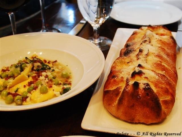 """Farfalle (Prosciutto, English peas, Pecorino Moliterno, Controne pepper, mint) and The """"WICKED"""" Stromboli"""