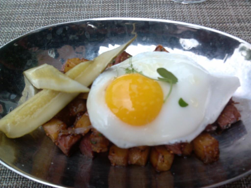Pastrami Hash (Free range eggs & Yukon gold potato, Spanish onions & Gordy's Pickles