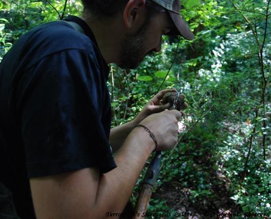 Luca piercing a truffle