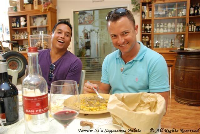Jason & Adam enjoying their truffles with pasta