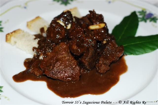 Cinghiale in Dolceforte (Wild boar in a typical Tuscan sauce prepared with vinegar, chocolate, raisins and pine nuts)