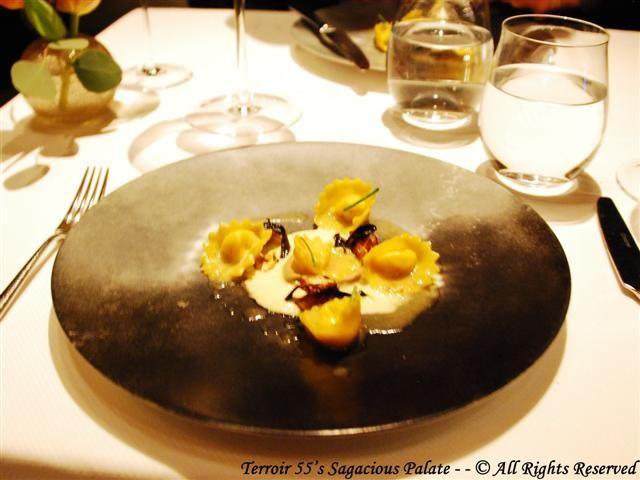 Sunchoke Tortelli (Fonduta, Savoy Cabbage, Black Trumpet Mushroom)