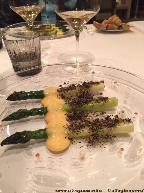 "Green Asparagus from ""Piolenc"", black olive condiment, orange sabayon"