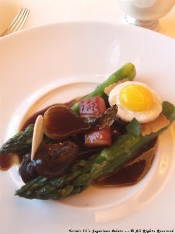 Asparagus, Quail Egg and ham