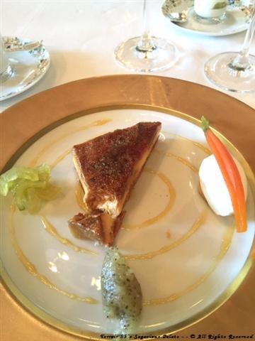 Fennel, celery, artichoke crème brûlée and almond ice cream