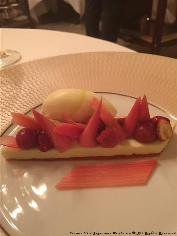 "Poached rhubarb with strawberry, light olive oil ""fruité noir"" mousse"