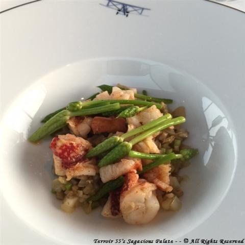 """Lobster (with a """"consommé"""" of Paris mushrooms and ginger fennel)"""