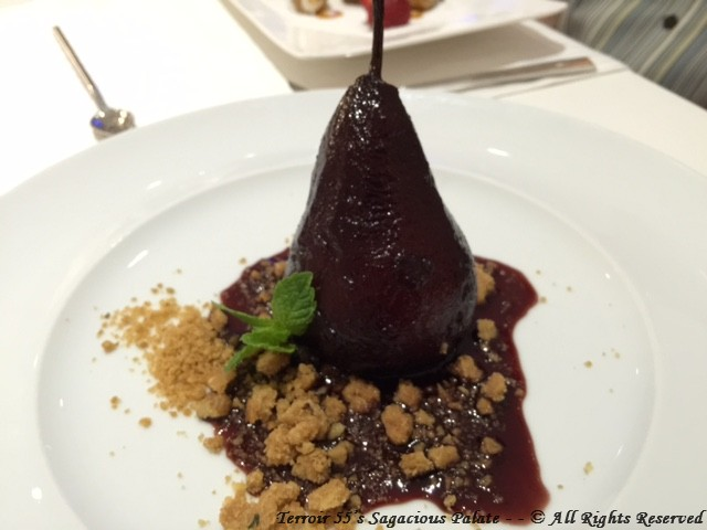 Wine poached pear