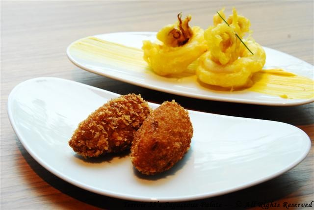 Chicken Croquettes and Fried Squid rings with Saffron