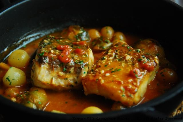 Sea bass with fresh herbs and vegetables