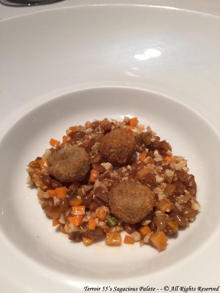 Squab liver croqueta / roasted squab thighs / spelt