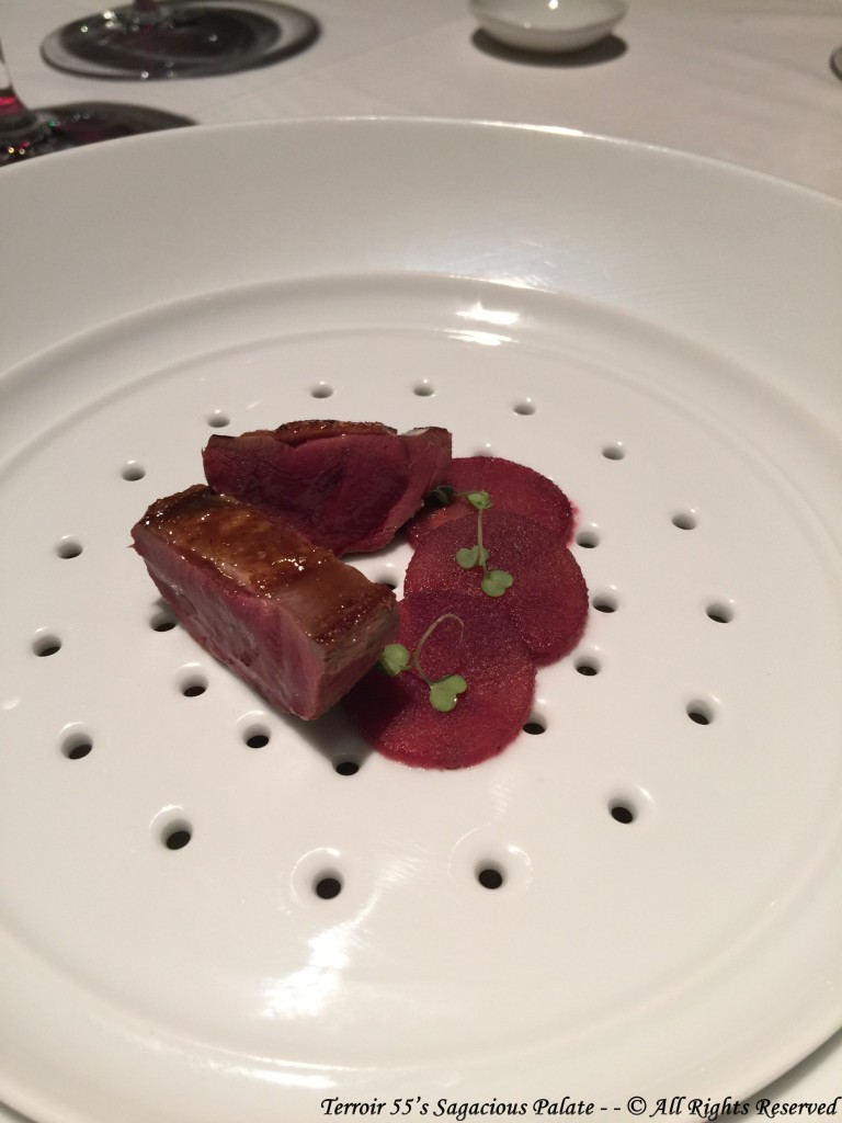 SQUAB - pan seared breast / red wine poached pear / forest fruits