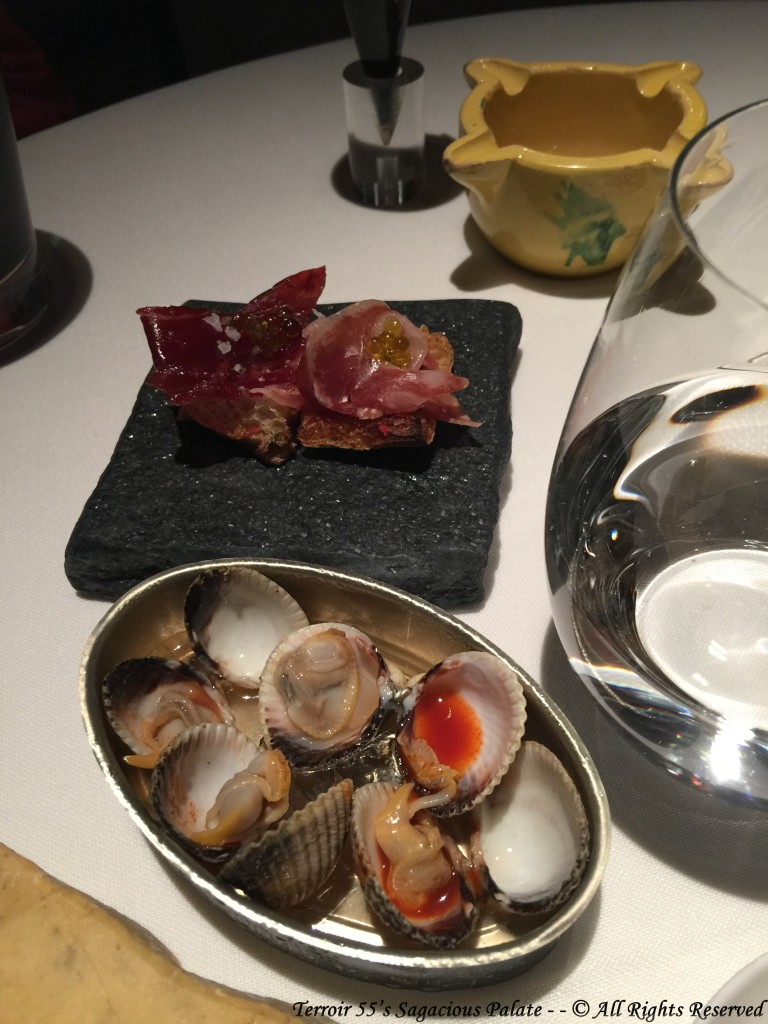 Baby clams with secret sauce #3 & grilled coca bread with Iberian jamón