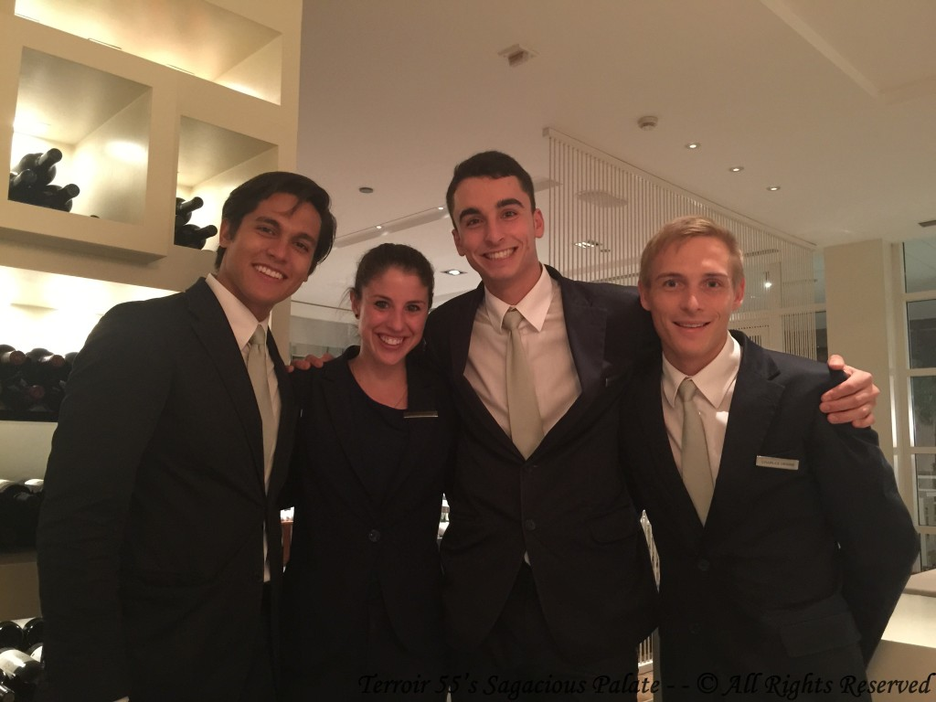 """The Dream Team"" (Seth, Pasquel and Charles) with Monica our personal Sommelier for the evening."