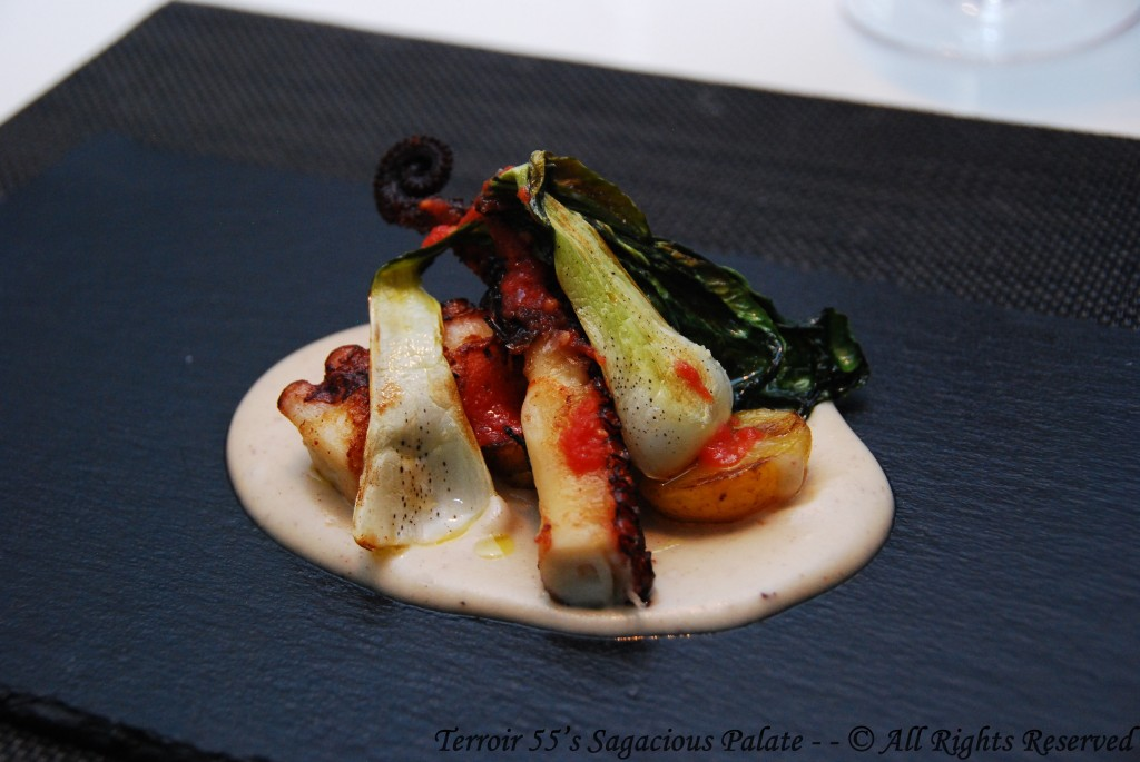 Roasted Octopus, Feta Cheese Cream, Grated Tomato & Pak Choi