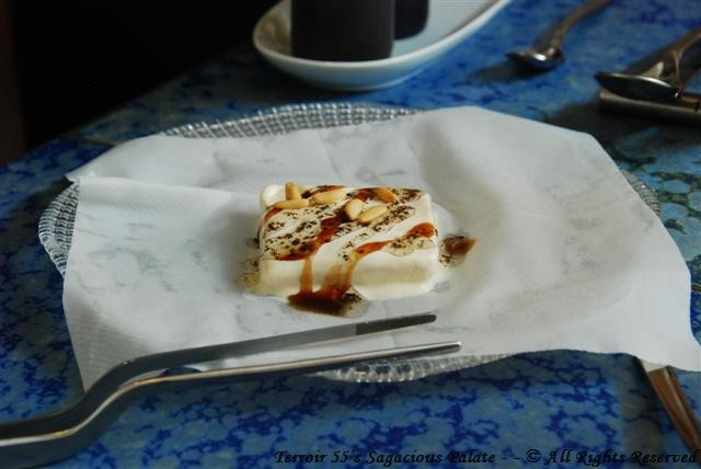 """Almond """"recuit de drap"""" with truffle, fir tree – Honey and pine nuts"""