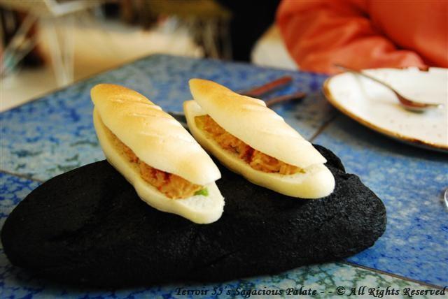 Seafood and avocado meringue sandwich