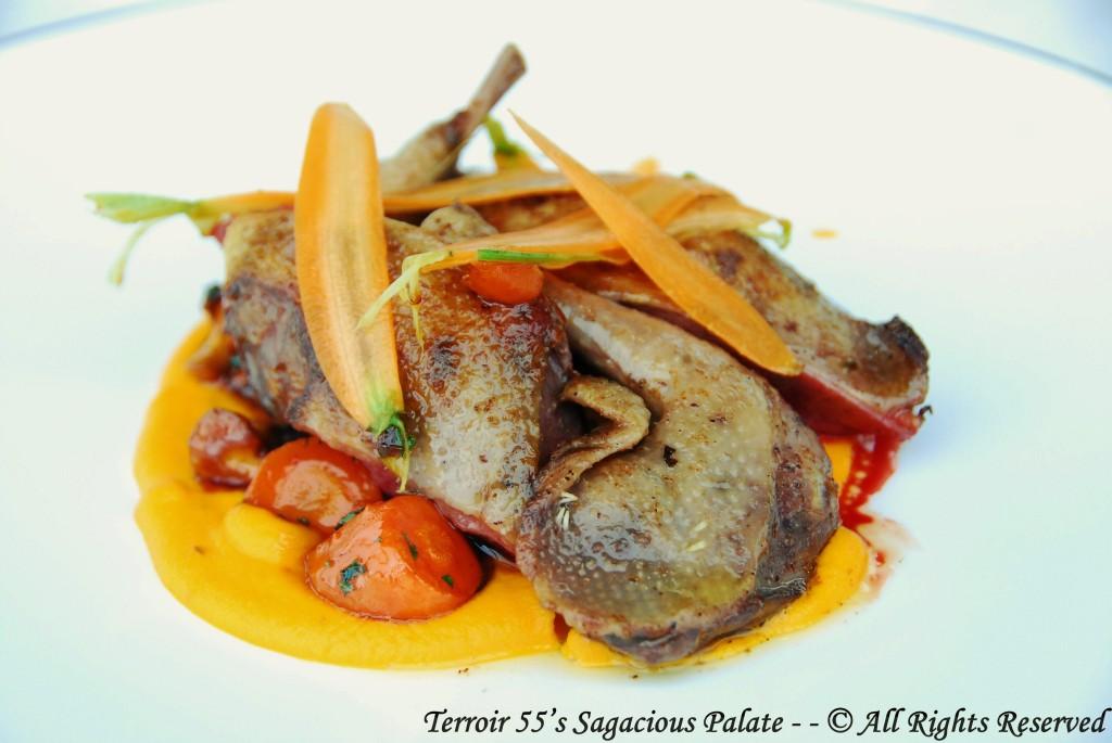 Roasted pigeon, carrots purée, fresh spring vegetables