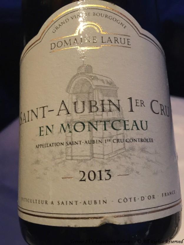 """2013 Domaine Larue """"En Montceau"""" Saint-Aubin 1er Cru"""