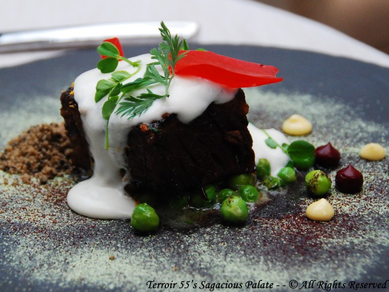 Japanese Worcestershire glazed Shortrib, English pea, coffee, blackberry ketchup, midnight moon