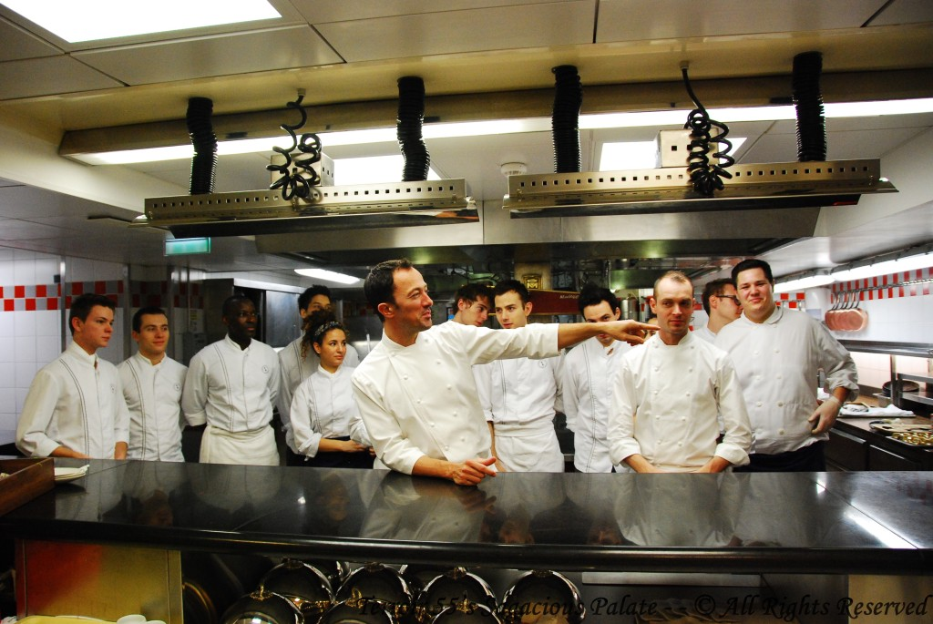 Head Chef Romain Meder requesting Head Pastry Chef Jessica Prealpato