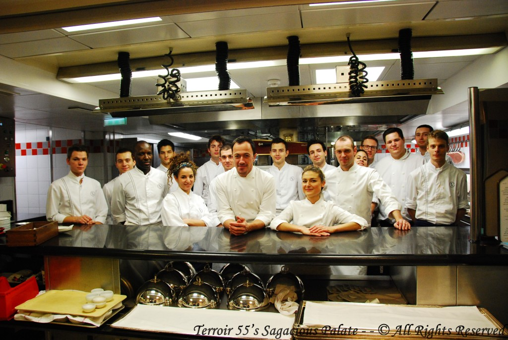 Head Chef Romain Meder and Head Pastry Chef Jessica Prealpato with the kitchen staff